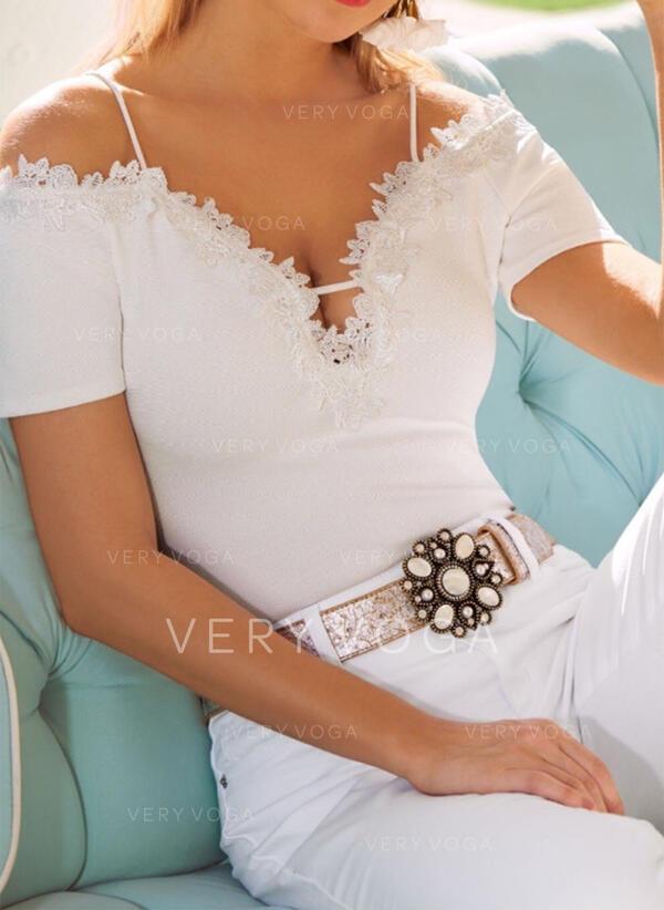 Jednolity Koronka Odkryte ramię Krótkie rękawy Casual Seksowny Bluzki