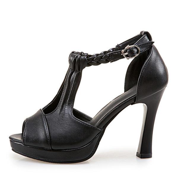 0b2a509c78e6 Dámské Koženka Jehlový podpatek Sandály Lodičky Platforma S otevřenou  špičkou S Přezka obuv