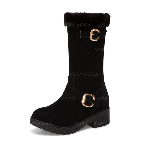 Femmes Suède Talon bas Bout fermé Bottes Bottes mi-mollets Bottes neige avec Boucle chaussures