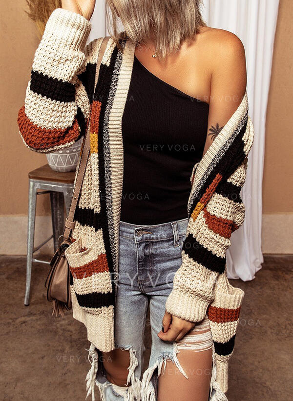 Striped Pocket Casual Long Cardigan
