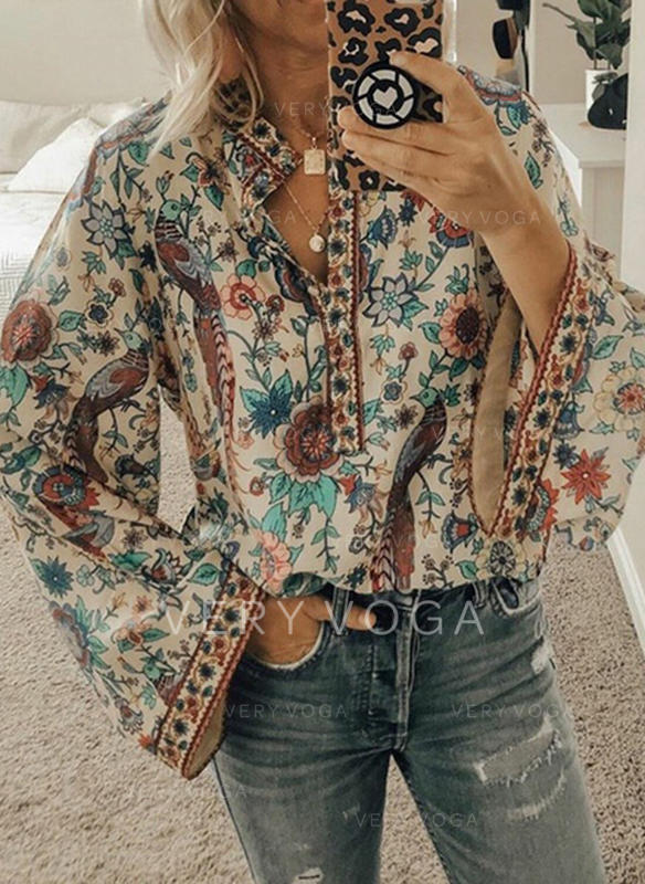 Print Floral V-Neck Long Sleeves Button Up Casual Blouses (1003274304)