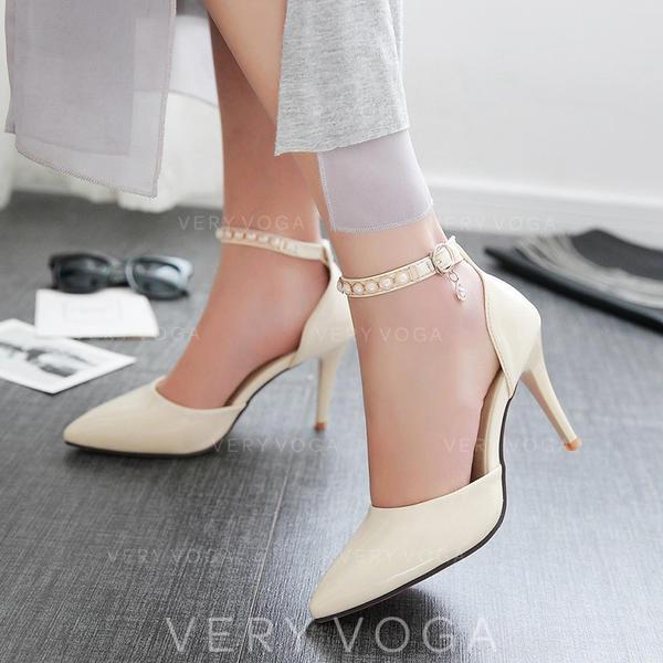 Femmes Similicuir Talon stiletto Sandales Escarpins avec Perle d'imitation Boucle chaussures
