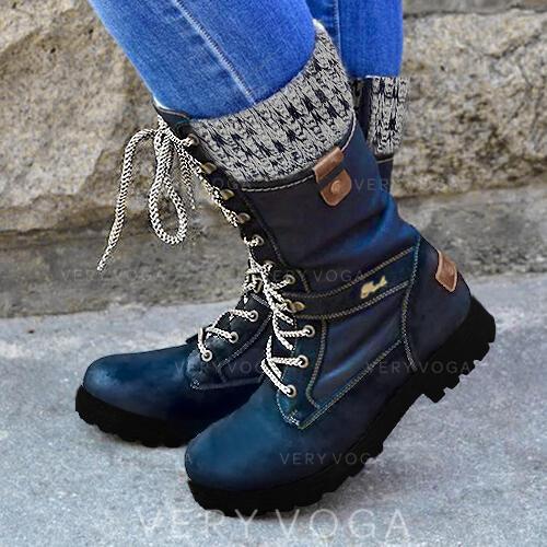 Női PU Alacsony sarok Mid-Calf Csizma Martin csizmák Kerek lábujj -Val Cipzár Lace-up Splice szín cipő