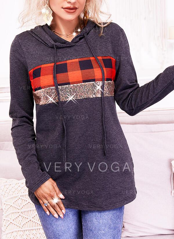 Print Plaid Sequins Long Sleeves Hoodie