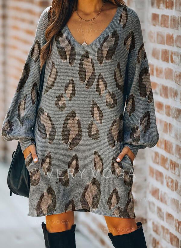 Leopard Lange Ärmel Shift Über dem Knie Freizeit Pullover Kleider