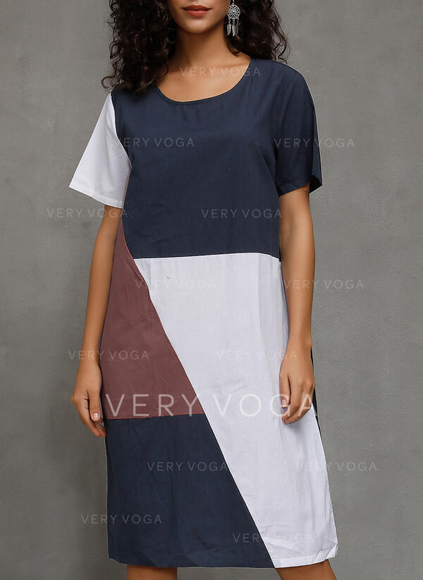 Color Block Short Sleeves Shift T-shirt Casual/Vacation Midi Dresses