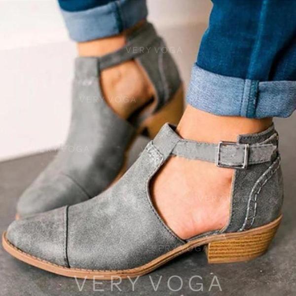 Frauen PU Stämmiger Absatz Absatzschuhe Stiefel Stiefelette mit Schnalle Schuhe