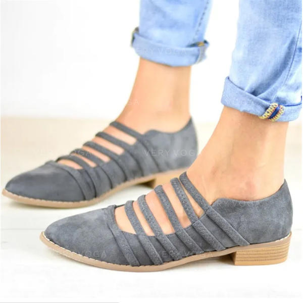 Women's PU Flat Heel Flats With Lace-up shoes