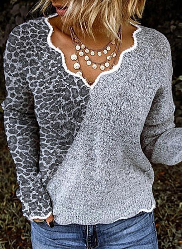 Bloque de Color Leopardo Cuello en V Casuales Suéteres