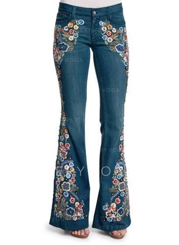 Print Shirred Plus Size Elegant Sexy Floral Jacquard Denim & Jeans