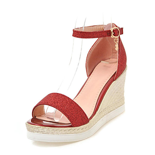 1cd9451c692c Women's Sparkling Glitter Wedge Heel Sandals Wedges Peep Toe With Buckle  shoes