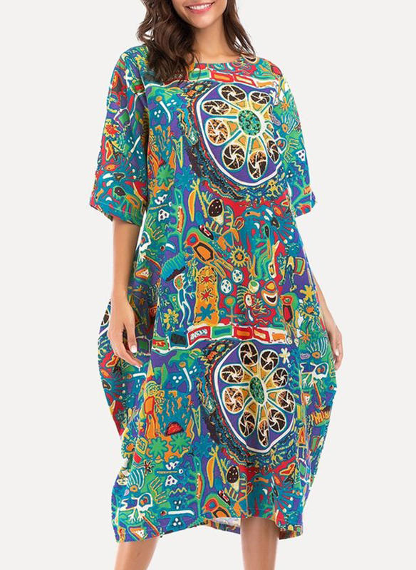 Print/Geometric Print 1/2 Sleeves Shift Midi Boho Dresses