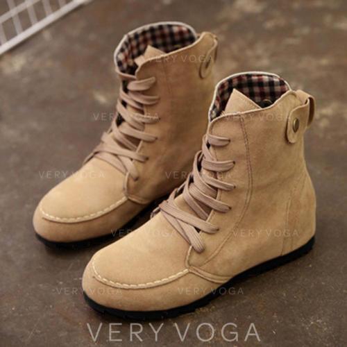 Frauen Stoff Flascher Absatz Flache Schuhe Stiefel mit Zuschnüren Schuhe