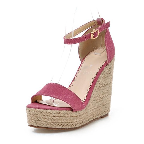 Women's Suede Wedge Heel Sandals With Buckle shoes