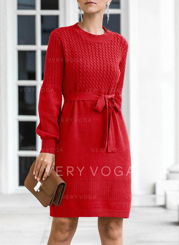 Femmes Polyester Couleur unie Pulls Tricot à Câble Gros tricot Robe Pull