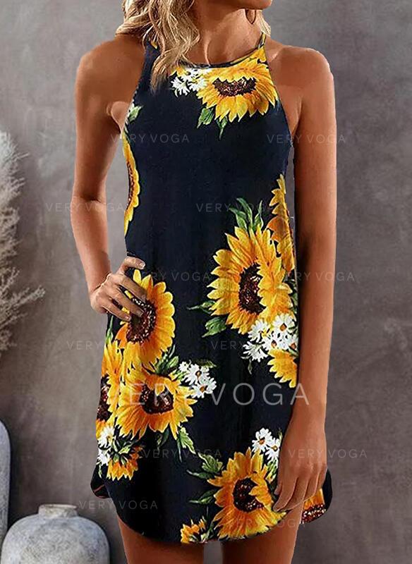 Nadruk słonecznika Bez rękawów Koktajlowa Nad kolana Casual Sukienki