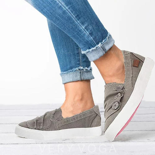De mujer Lona Tacón plano Planos con Botones zapatos