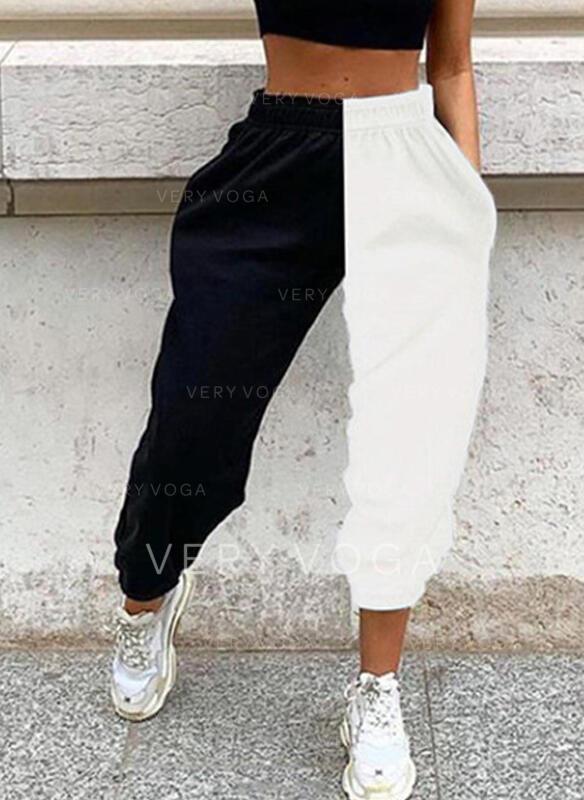 Geometrisch Taschen Übergröße Lange Lässige Kleidung Sportlich Hosen