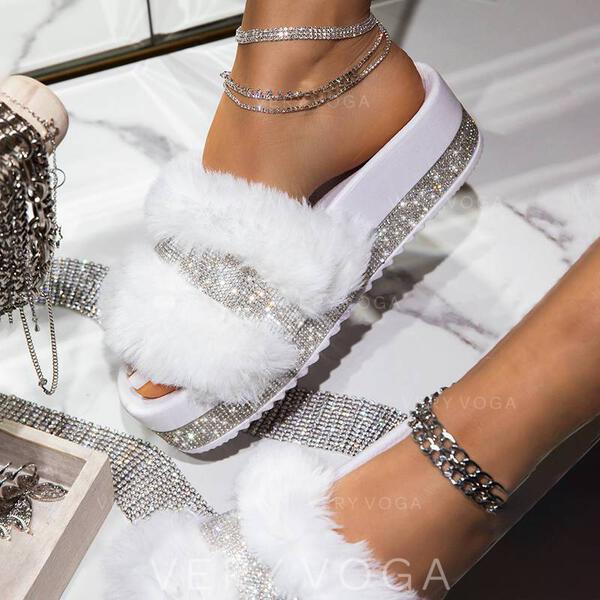 Сандалии Домашние тапочки с горный хрусталь Искусственный мех обувь