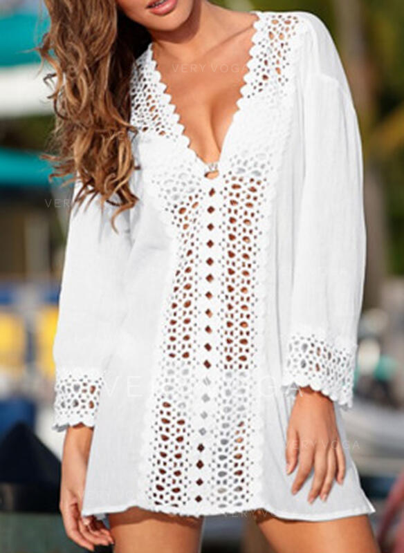 Solid Color Mesh V-Neck Sexy Elegant Cover-ups Swimsuits