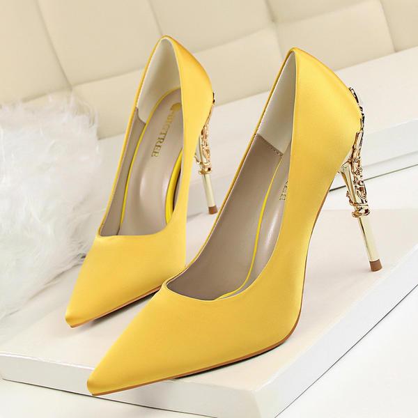 Women's Satin Stiletto Heel Pumps With Jewelry Heel shoes