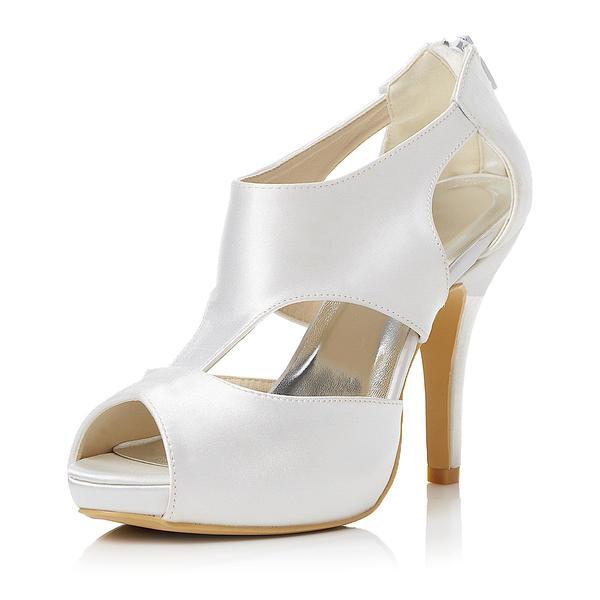 Frauen Satin Stöckel Absatz Peep-Toe Sandalen mit Reißverschluss