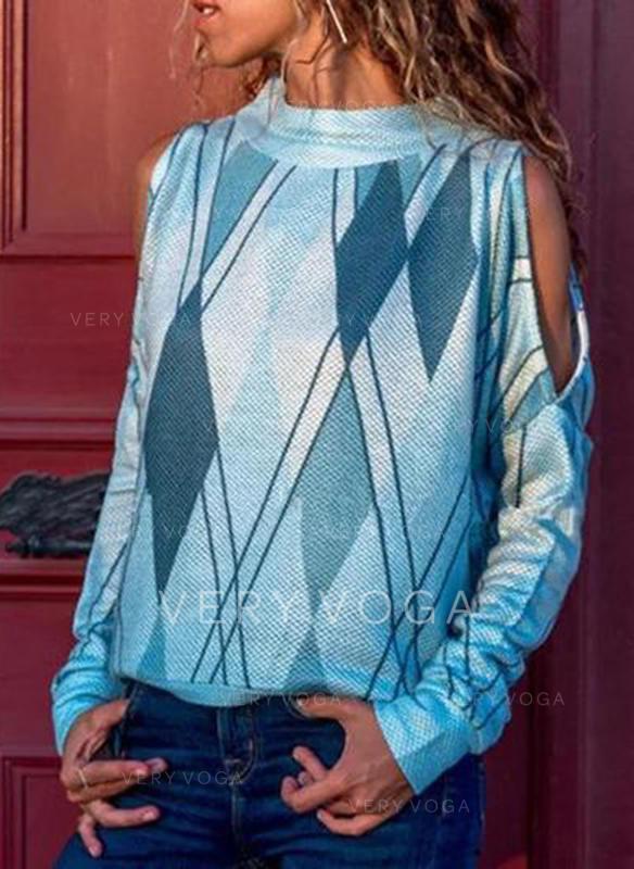 Χρωματικό μπλοκ Όρθιο κολάρο Μακρυμάνικο Καθημερινό Блузки