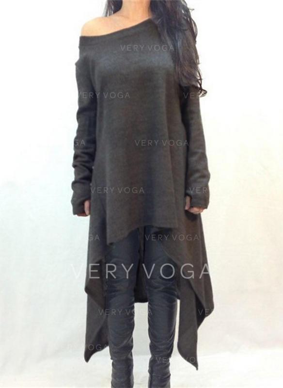 Sólido Manga Larga Tendencia Asimétrico Vestidos