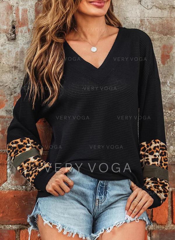 Leopard V-hals Lange ærmer Casual Strikning Skjorter