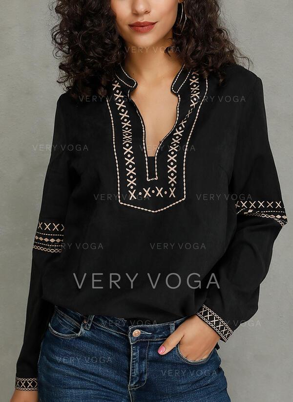 Print V-Neck Long Sleeves Casual Blouses