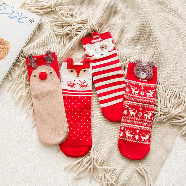 Women's Merry Christmas Snowman Reindeer Santa Cotton Stockings Christmas Socks (Set of 4)