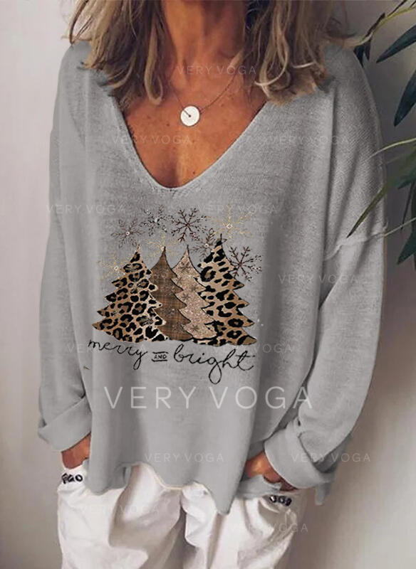 Print Leopard Figure V-Neck Long Sleeves Casual Christmas T-shirts