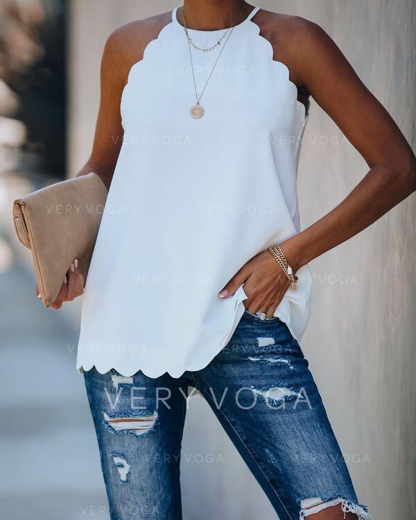 Solido Girocollo Senza maniche Casuale Camicie