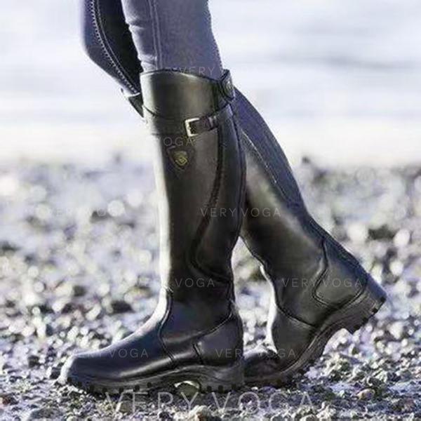 Kvinner PU Lav Hæl Støvler Knehøye Støvler sko