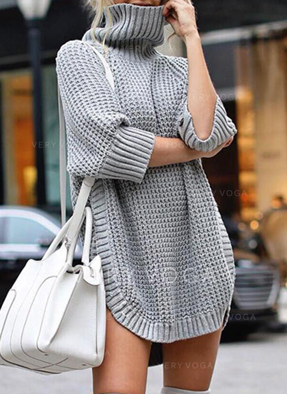 Solid Waffle Knit Chunky knit Turtleneck Sweaters