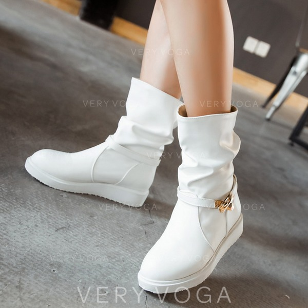Women's Leatherette Flat Heel Flats Boots With Buckle shoes