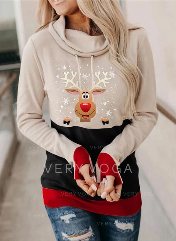 Hayvan baskı Uzun kollu Noel Kazak