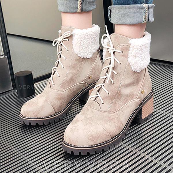 Kvinnor Mocka Tjockt Häl Boots med Bandage skor