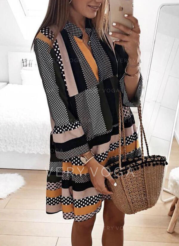 PolkaDot/Striped Long Sleeves Shift Knee Length Casual Tunic Dresses