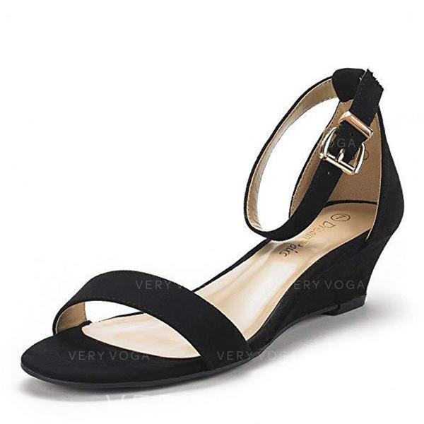 PU ウエッジヒール サンダル ウェッジ ピープトウ かかと とともに バックル 靴