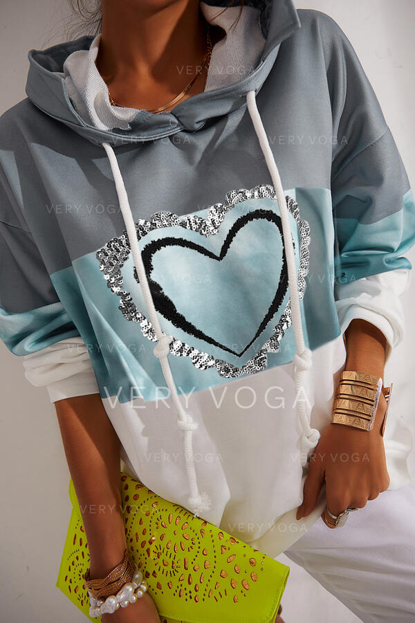 Imprimeu Renkli klişe Kalp Payetler Mâneci Lungi Kapüşonlu svetşört