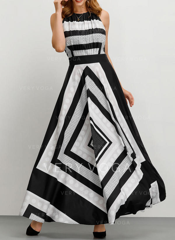 Print/Striped Sleeveless A-line Party Maxi Dresses