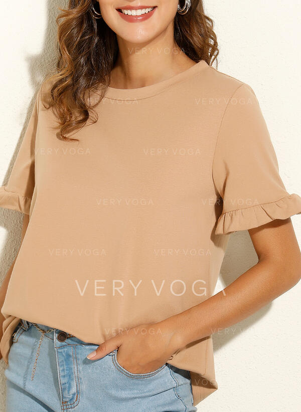 Sólido Cuello redondo Manga corta Casual Básico Camisetas