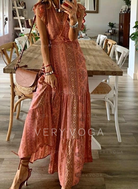 Print Cap Sleeve A-line Casual/Boho/Vacation Maxi Dresses
