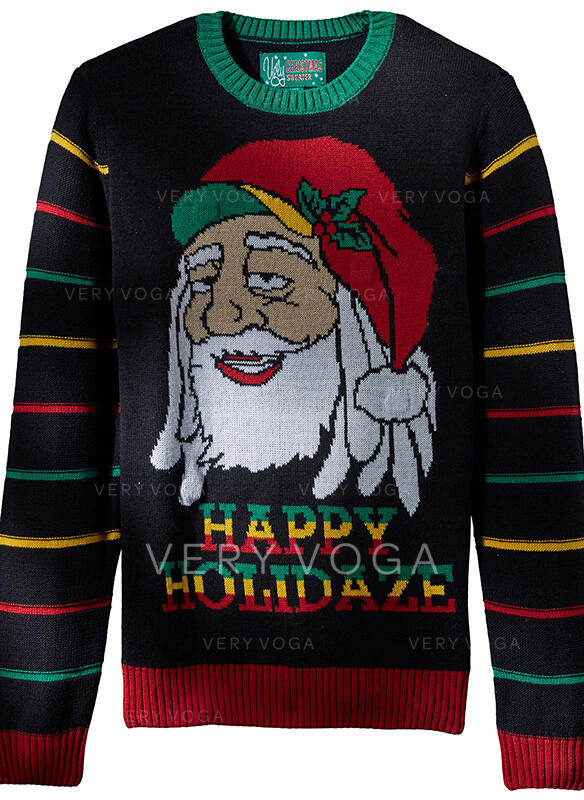 Unisex Polyester Striped Santa Letter Ugly Christmas Sweater