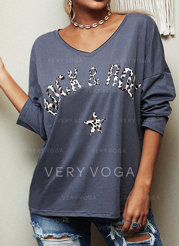 Print Leopard V-Neck 3/4 Sleeves Casual T-shirts