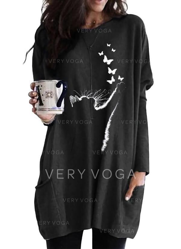 Animal Print Pockets Round Neck Long Sleeves Sweatshirt
