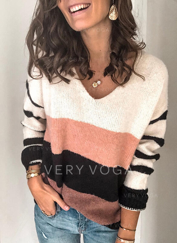 Color Block Striped V-Neck Casual Sweaters