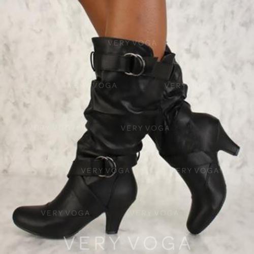 Női PU Spool sarok Magassarkú Csizma -Val Csat cipő