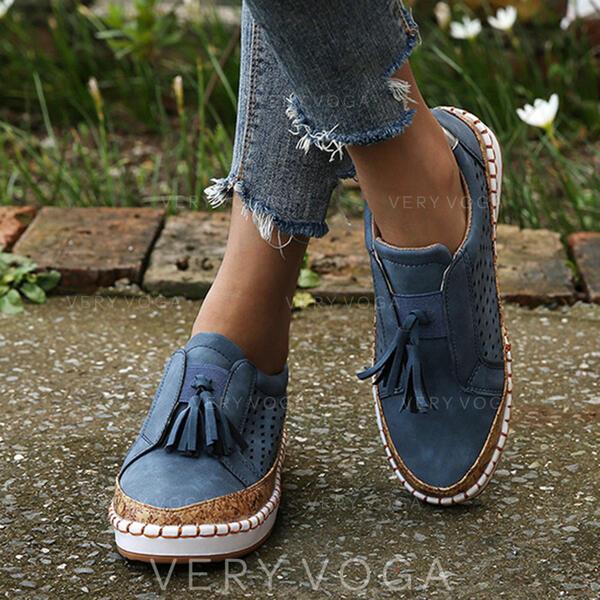 Femmes PU Talon plat Chaussures plates avec Ouvertes Tassel chaussures